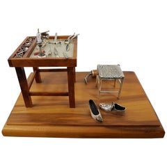 20th Century Italian Sterling Silver - Wood Miniature Cobbler Workshop