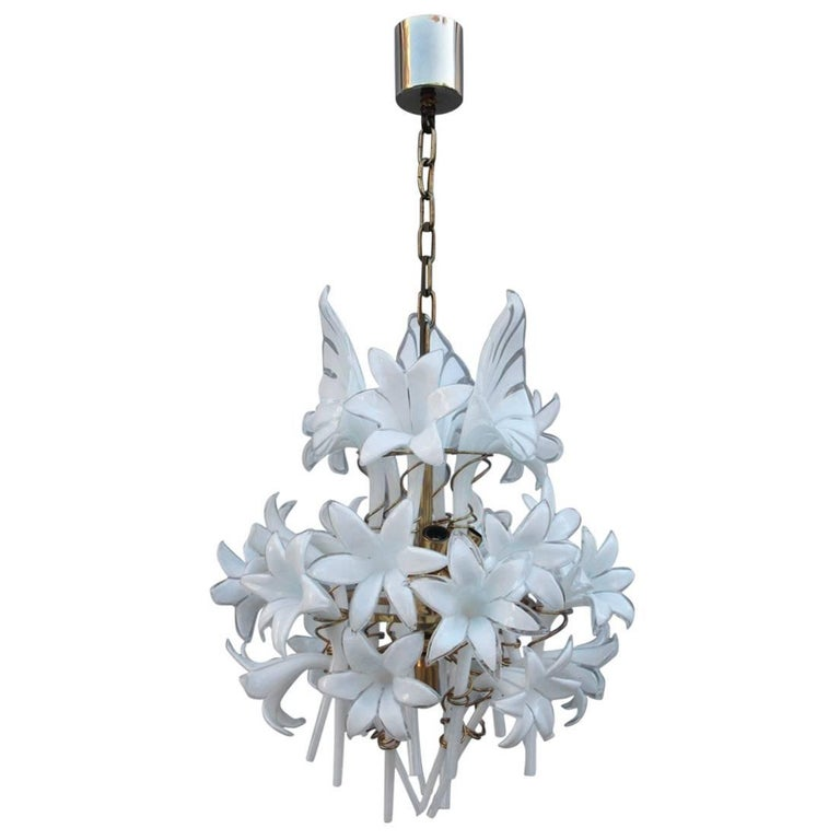 Murano Art Glass Chandelier Flowers And Brass At 1stdibs