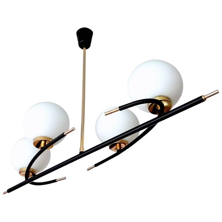Large Maison Lunel Brass Glass Linear Sputnik Chandelier, Stilnovo Style