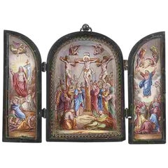 18th Century Viennese Enamel Triptych of Scenes from the Life of Christ