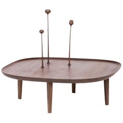 Fiori Table in Walnut with Hand-Carved Flowers