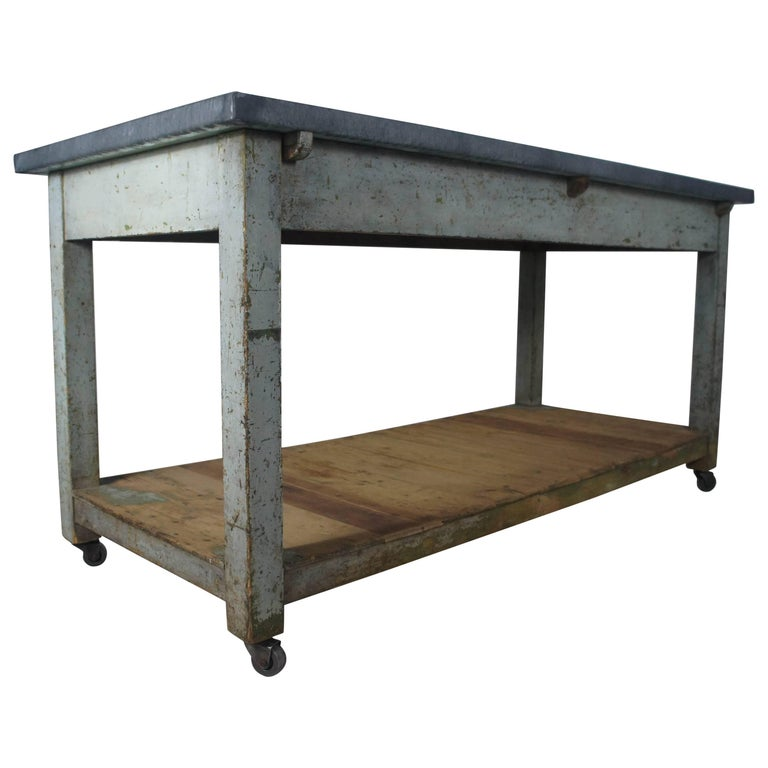 20th Century French Table Sideboard Or Kitchen Island With Zinc Top On Casters For