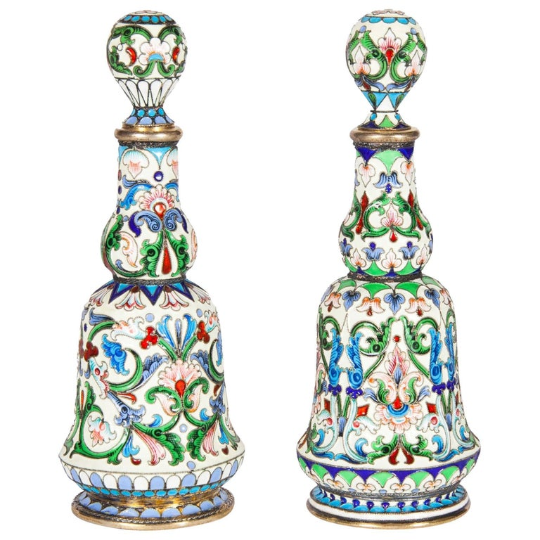 Set of Two Russian Silver Gilt and Cloisonne Enamel Scent Bottles