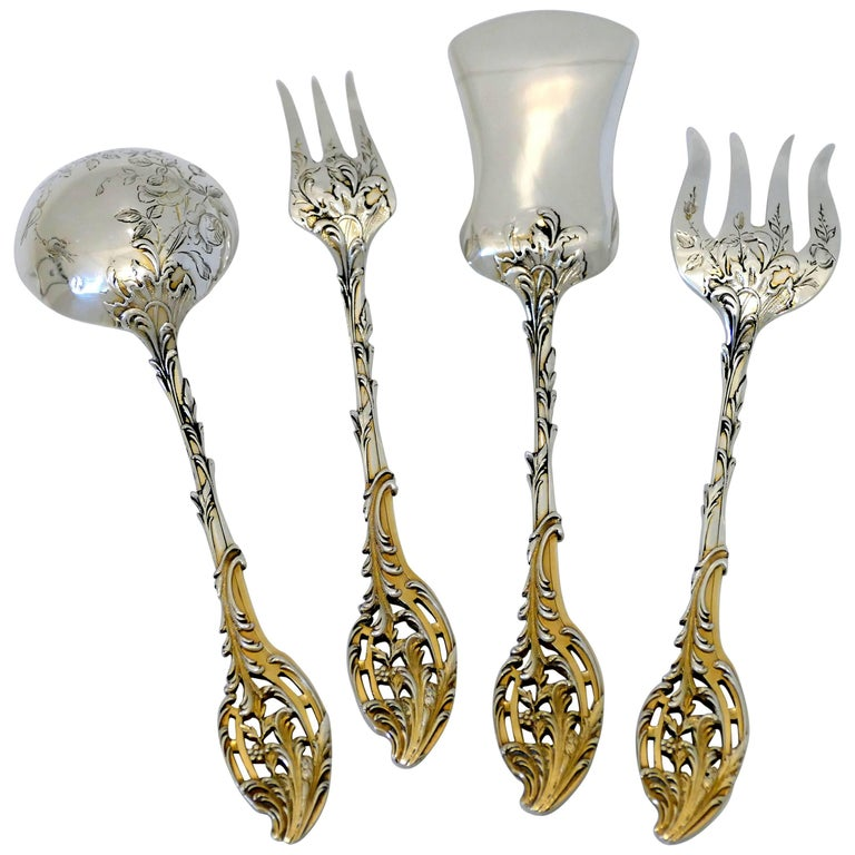 Ernie French Sterling Silver 18-Karat Gold Dessert Hors D'oeuvre Set of 4 Piece