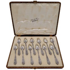 Puiforcat Rare French Sterling Silver Tea Dessert Spoons Set, Box, Renaissance
