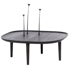 Fiori Coffee Table with Hand-Carved Flowers – Square in Black