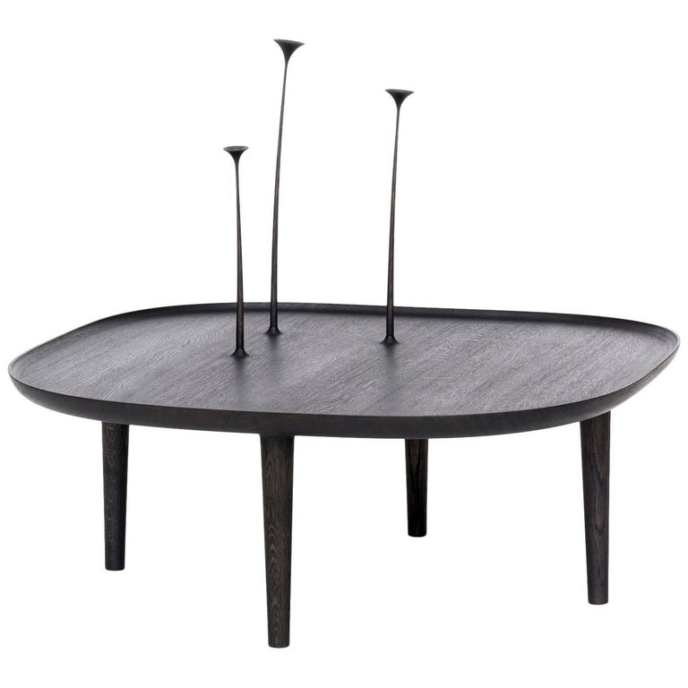 Fiori Table in Oak Stained Black with Hand-Carved Flowers