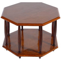 Art Deco Italian Octagonal Bird-Eye's Maples Sofa Coffee Table or Side Table