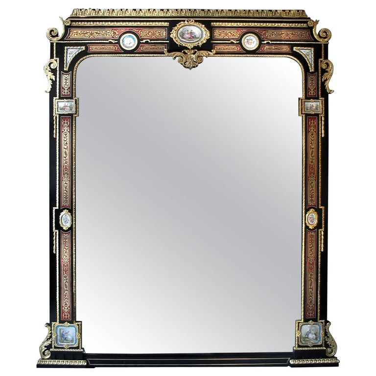 Ebonised and Boulle Inlaid Mirror with Sèvres-style Porcelain Plaques