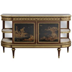 Louis XVI Style Gilt-Bronze Mounted Lacquer and Ebony Veneered Commode