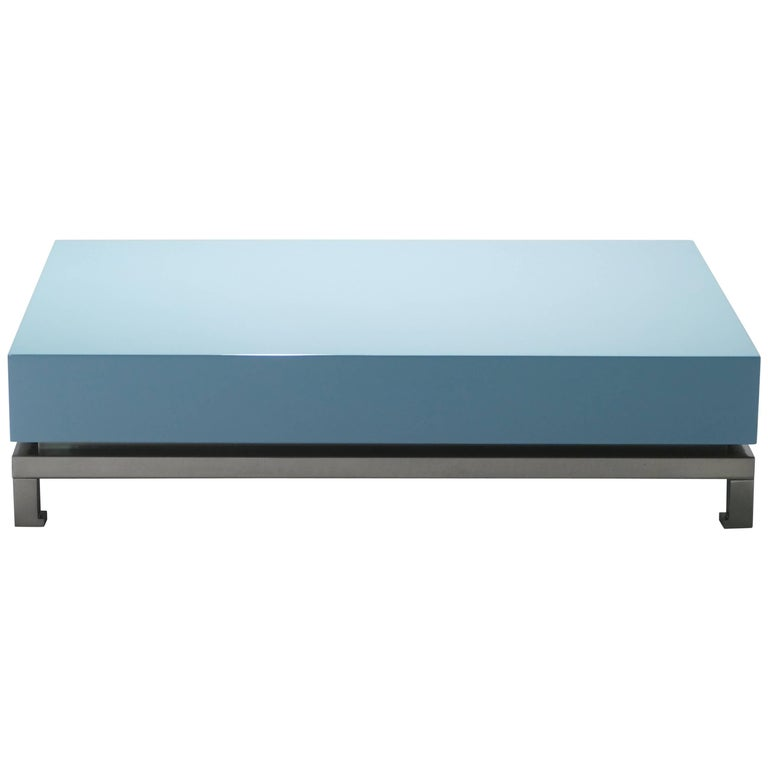 Guy Lefevre Blue Lacquer Coffee Table, 1970s