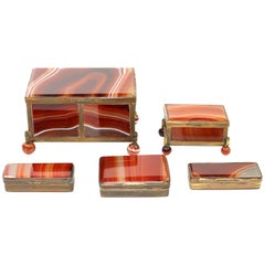 Set of Five Red Agate Pill Boxes