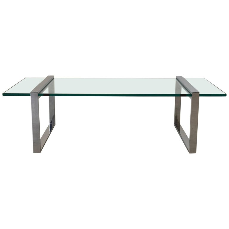 1970s Milo Baughman Chrome Floating Glass Coffee Table