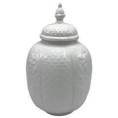 1960s Italian Ceramic Urn Jar with Floral and Pineapple Motif