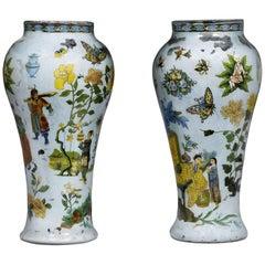 Pair of 18th Century Italian Chinoiserie Blown Glass Vases