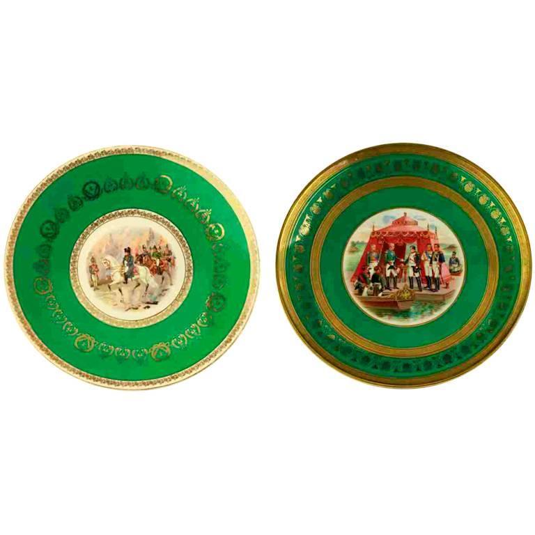 Pair of Antique Napoleonic Gardner Porcelain Plates