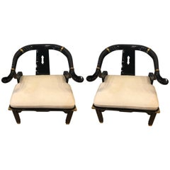 Pair of Lacquered Century Asian Chairs by James Mont