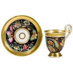 19th Century German Parcel-Gilt KPM Porcelain Teacup and Saucer