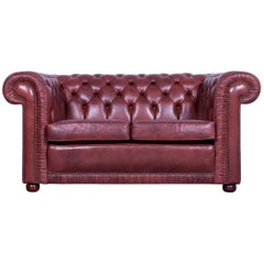 Chesterfield Two-Seat Sofa Red Brown Vintage Retro Handmade Rivets