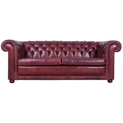 Chesterfield Three-Seat Sofa red brown Vintage Retro Handmade Rivets