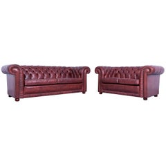 Chesterfield Sofa Set Three-Seat and Two-Seat Sofa Red Brown Vintage Rivets