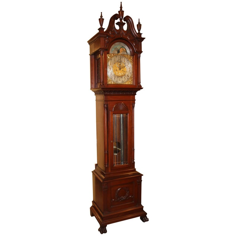 Exceptional Smith Patterson & Co Boston Mahogany Tall Clock with Moon Phase Dial For Sale