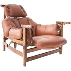 Jean Gillon Cognac Leather and Jacaranda  'Jangada' Lounge Chair, Brazil 1960s