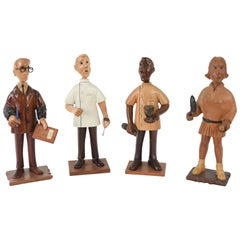 Four Italian Hand-Carved Wooden Occupational Figures