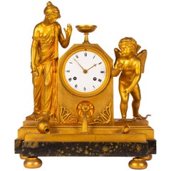 French Gilt Bronze Mantel Clock with Classical Figures
