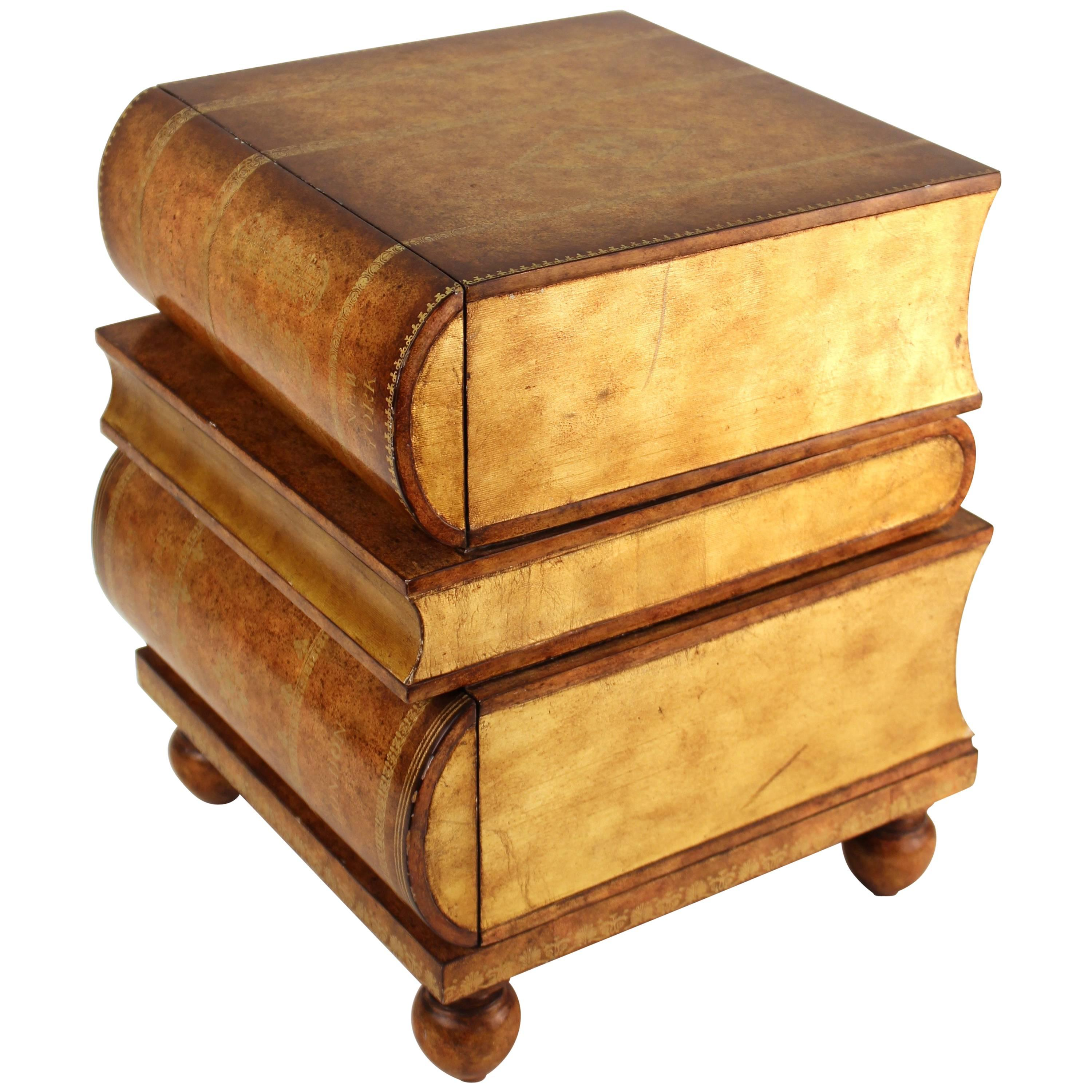 Merveilleux Maitland Smith Stacked Book Side Table For Sale