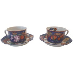Hermès Porcelain Marqueterie de Pierre d'orient et d'occident Tea Cups Set