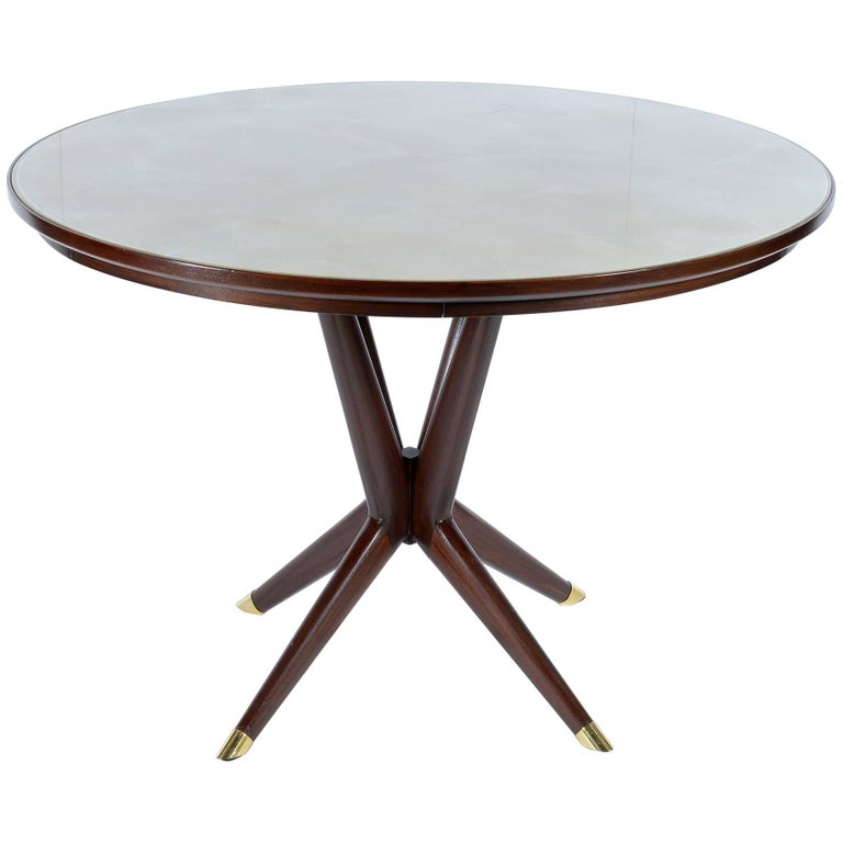 Italian Round 1950s Table with Glass Top