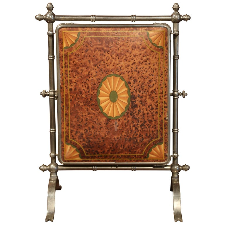 This elegant, antique silver plated metal tri-fold table mirror was crafted in France, circa 1880. The three-panel piece on freestanding frame, features a tilting centre mirror, two side mirrors, all of them with original bevelled mercury glass. The