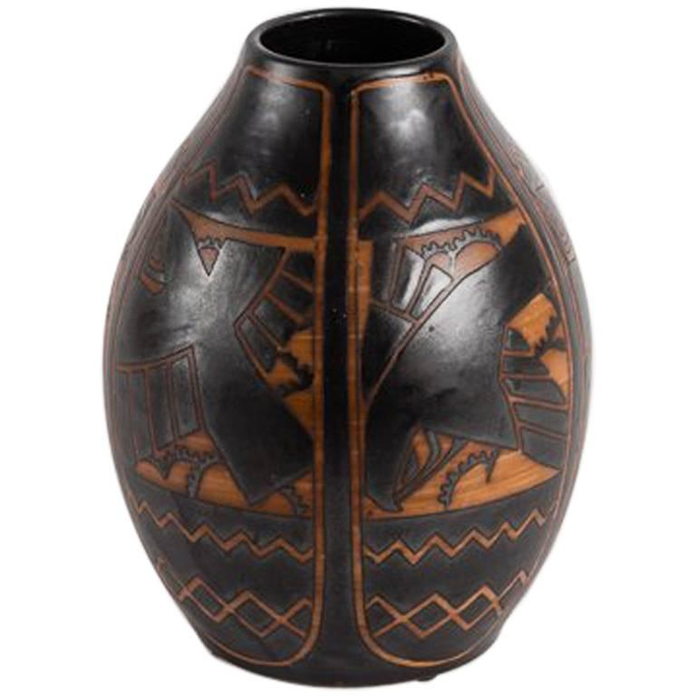 Charles Catteau for Boch Frères, Art Deco Vase, Belgium, 1925