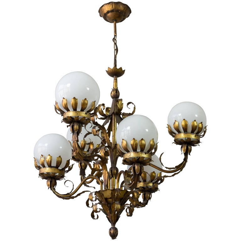 Gilt Metal Chandelier with White Glass Globes