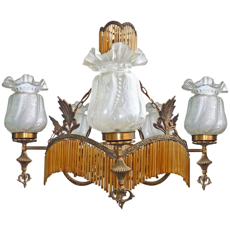 Large French Art Deco/Nouveau Amber Glass Fringe Hollywood Regency Chandelier