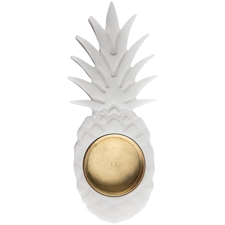 Small White Marble Ashtray with Pineapple Shape For Sale