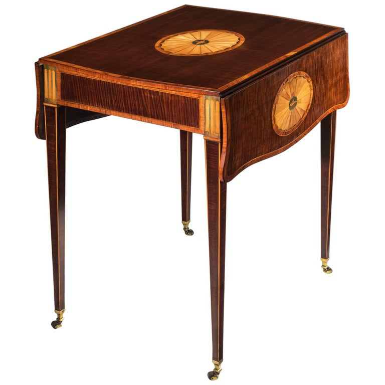 George III Harewood and Marquetry Pembroke Table Attributed to Mayhew and Ince