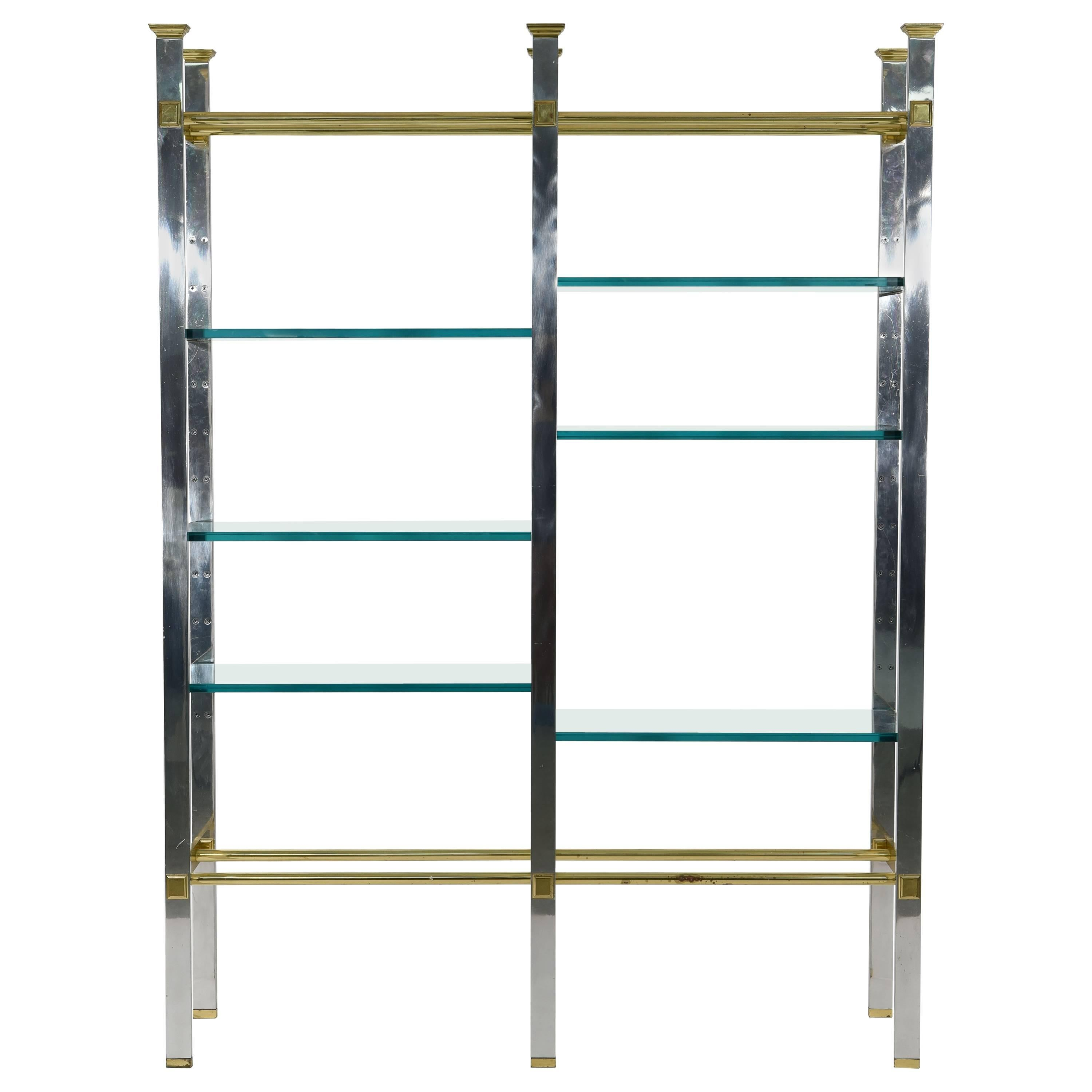 Midcentury Chrome and Brass Etagere