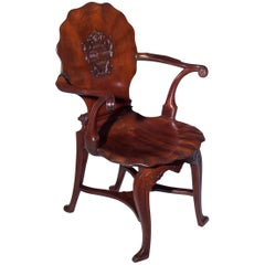 George II Mahogany Armorial Hall Chair Attributed to William Hallett