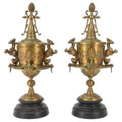 Victorian Figural Bronze and Marble Urns