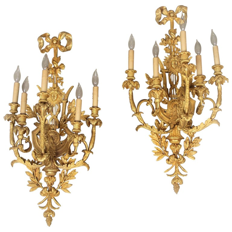 Large and Elaborate Pair of Early 20th Century Gilt Bronze Five-Light Sconces For Sale