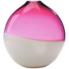 Pink Blown Glass Vase, 2 Banded Series by Siemon & Salazar