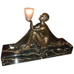 French Art Deco Bronze and Marble Lamp by J. Lormier Statue Sculpture