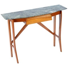 Italian Midcentury Console with a Drawer and Alps Marble Top
