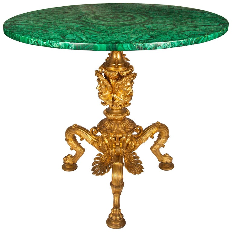 Nicholas I Period Russian Malachite Side Table with Gilt Bronze Base