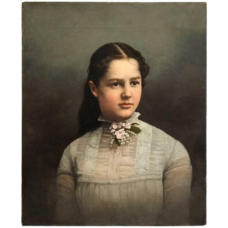 19th Century Young Lady Portrait , Oil on Canvas Painting