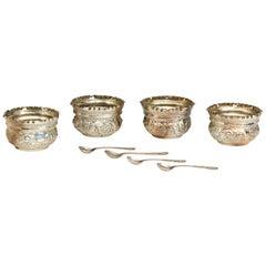 Sterling Silver 925 ‰ Set of Four Salt Cellars, Jackson & Fullerton, 1897-1898