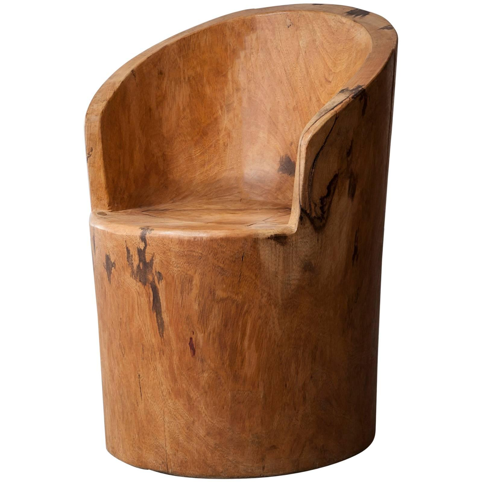 Sculpted Solid Wood Chair