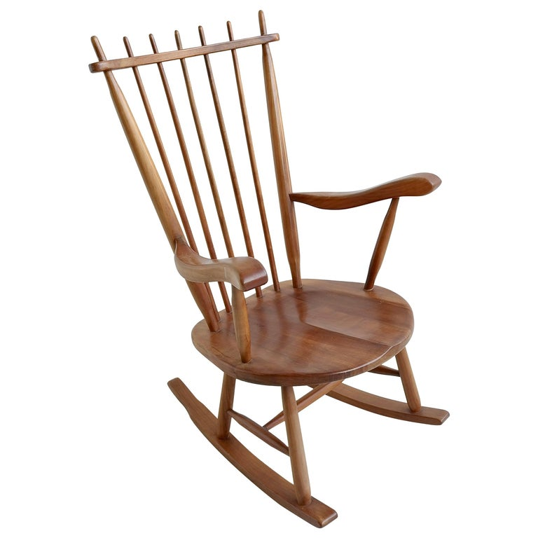 Organic Rocking Chair in Style of George Nakashima For Sale